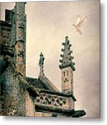 Dove Landing On Church Metal Print