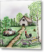 Down On The Farm Metal Print by Lena Auxier