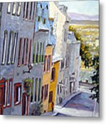Down The Hill Old Quebec City Metal Print