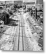 Down The Tracks - Downtown Miami - Black And White Metal Print by Ian Monk