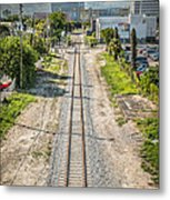 Down The Tracks - Downtown Miami Metal Print by Ian Monk