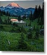 Down The Valley To Rainier Metal Print