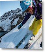 Downhill Skiier In Portillo, Chile Metal Print
