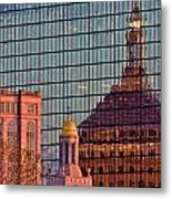 Downtown Boston Reflection Metal Print