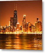 Downtown Chicago At Night With Chicago Skyline Metal Print by Paul Velgos