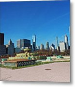 Downtown Chicago With Buckingham Fountain 2 Metal Print