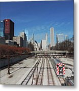 Downtown Chicago With Train Tracks Metal Print