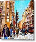 Downtown City Life Metal Print