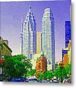 Downtown Core Flatiron Building And Cn Tower Toronto City Scenes Paintings Canadian Art Cspandau Metal Print