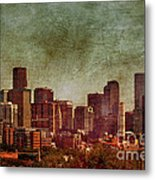 Downtown Denver Antiqued Postcard Metal Print