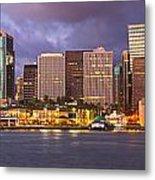Downtown Honolulu Hawaii Dusk Skyline Metal Print