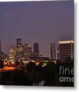 Downtown Houston Before Fireworks Metal Print