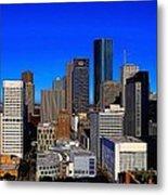 Downtown Houston Painted Metal Print