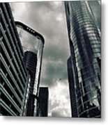 Downtown Houston Skyscrapers In Storm Metal Print