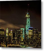 Downtown Manhattan At Night Metal Print