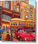 Downtown Montreal-streetcars-couple Near Red Fifties Mustang-montreal Vintage Street Scene Metal Print