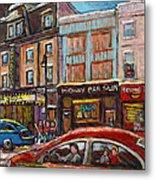 Downtown Montreal Streetscene Metal Print