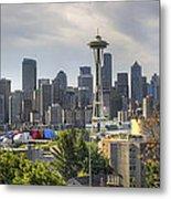 Downtown Seattle Skyline With Mount Rainier Metal Print