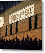 Downtown Seattle With Silhouetted Runners On Brick Wall Early Mo Metal Print