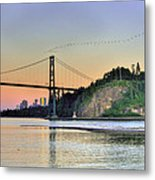Downtown Vancouver And Lions Gate Bridge At Twilight Metal Print by Eti Reid