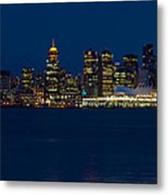 Downtown Vancouver At Night  Metal Print