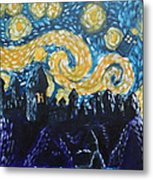 Dr Who Hogwarts Starry Night Metal Print by Jera Sky