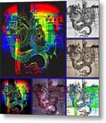 Dragon Collage Metal Print