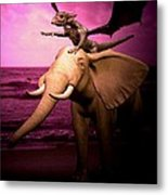Dragon Riding Elephant Metal Print