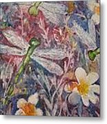 Dragonflies And Daisies Metal Print