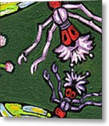 Dragonflies And Water Lilies Metal Print