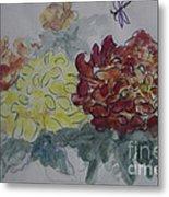 Dragonfly Among Chrysanthemums Metal Print