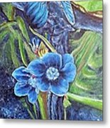 Dragonfly Hunt For Food In The Flowerhead Metal Print
