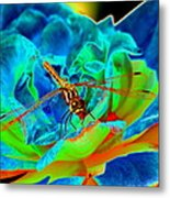 Dragonfly On A Cosmic Rose Metal Print