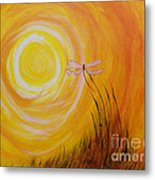 Dragonfly Sun Metal Print