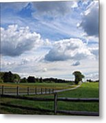 Dramatic Blustery Sky Over The Hayfield Metal Print