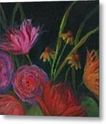 Dramatic Floral Still Life Painting Metal Print