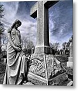 Dramatic Gravestone With Cross And Guardian Angel Metal Print
