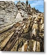 Dramatic Lava Rock Formation Called The Dragon's Teeth In Maui. Metal Print
