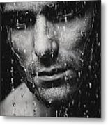Dramatic Portrait Of Man Wet Face Black And White Metal Print