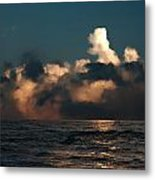 Dramatic Storm Clouds Approaching Small Fishing Boat Metal Print