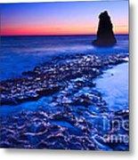 Dramatic Sunset View Of A Sea Stack In Davenport Beach Santa Cruz. Metal Print by Jamie Pham