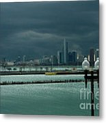 Dramatic Thunderstorm Over Navy Pier Chicago Metal Print
