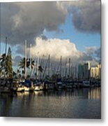 Dramatic Tropical Storm Light Over Honolulu Hawaii  Metal Print
