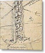 Drawing By Leonardo Da Vinci.. Flying Metal Print