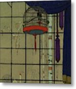 Drawing Of A Bid In A Cage In Front Of A Window Metal Print