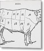 Drawing Of A Bullock Marked To Show Eighteen Different Cuts Of Meat Metal Print by English School