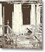 Drawing Of An Old House With Porch In Brown 3000.04 Metal Print