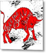 Drawing Red Angry Bull On The Grunge Metal Print
