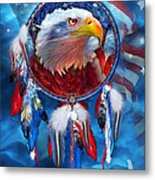 Dream Catcher - Eagle Red White Blue Metal Print by Carol Cavalaris