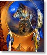 Dream Catcher - Wolf Dreams Metal Print